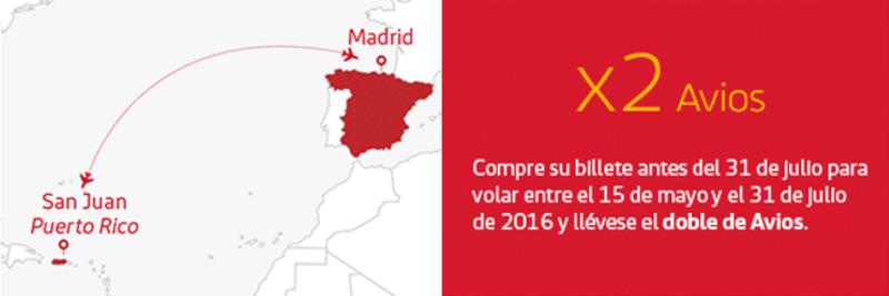 Doble de Avios en la ruta Madrid - Puerto Rico de Iberia