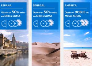 Obtén hasta el doble de millas SUMA adicionales en destinos de corto, medio y largo radio con Air Europa