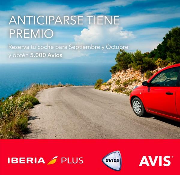 5.000 puntos Avios al reservar tu coche en Avis durante septiembre y octubre