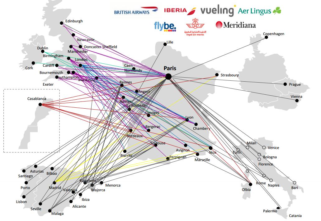 Curiosidades de Avios: conexiones disponibles con Avios a/desde Francia