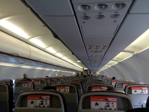 Vista del vuelo a bordo del A320 de Thai Smile