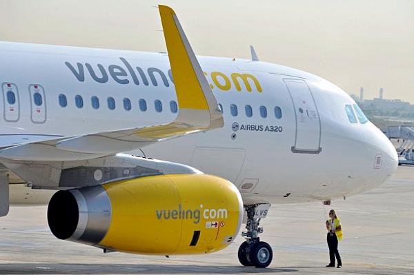 Un amarillo Airbus A320 de Vueling.
