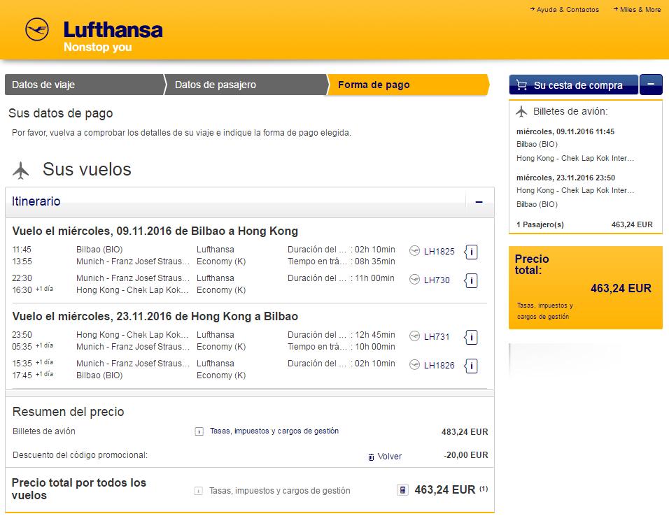 Código promocional Lufthansa 20€ de descuento