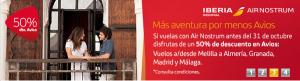 50% de descuento en Avios Iberia Express y Air Nostrum