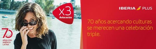 Triple de Avios en vuelos a Centro y Sudamérica