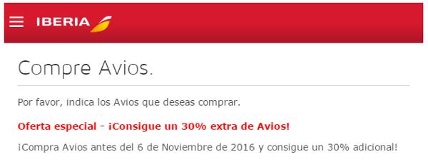 30% adicional al comprar o regalar puntos Avios
