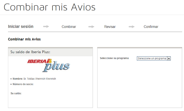 Transferir Avios desde Iberia Plus a British Airways Executive Club.