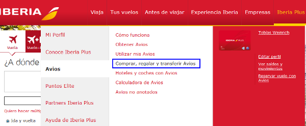 Transferir Avios desde Iberia Plus a British Airways Executive Club