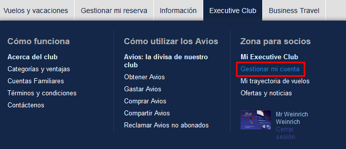 Transferir Avios desde British Airways Executive Club a Iberia Plus.