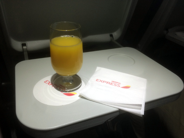 Zumo de narana clase Buesiness Iberia Express