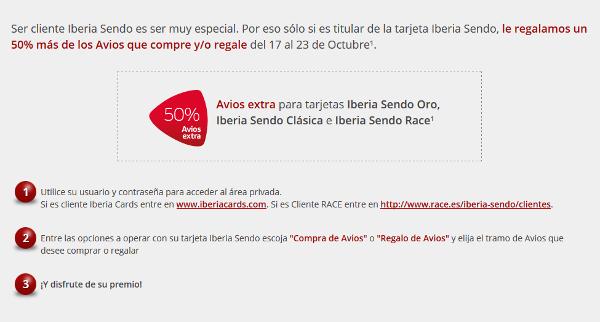 Iberia Sendo: 50% adicional al comprar puntos Avios
