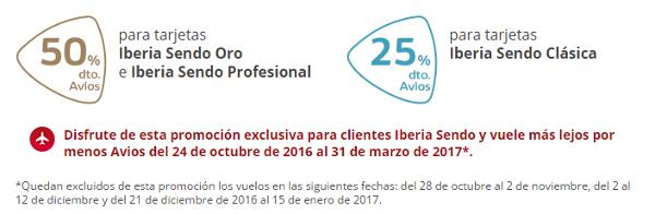 Hasta 50% de descuento en Avios con Iberia Sendo.