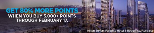 Compra puntos HHonors con un 80% adicional.