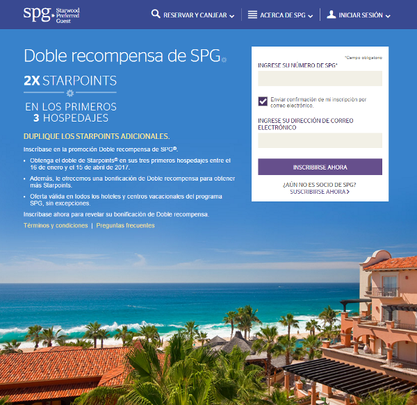 Starwood Preferred Guest - Doble Recompensa.