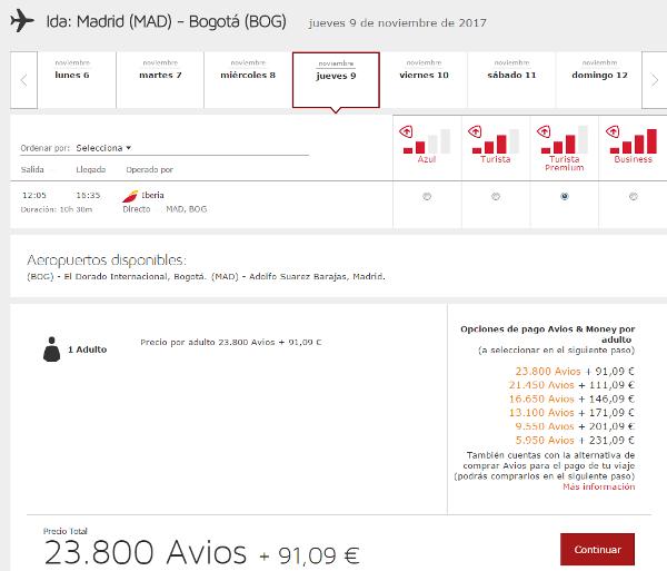 Iberia Turista Premium con Avios.