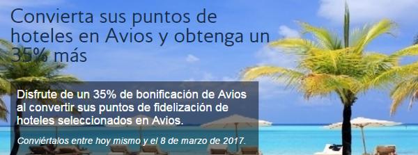 Convierte puntos de hotel en Avios y obtén un 35% adicional de puntos.