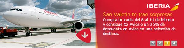Descuento en Avios o x2 de Avios en selectos destinos de la red de Iberia e Iberia Express.