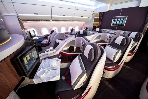 Cabina Business A350 Qatar Airways.