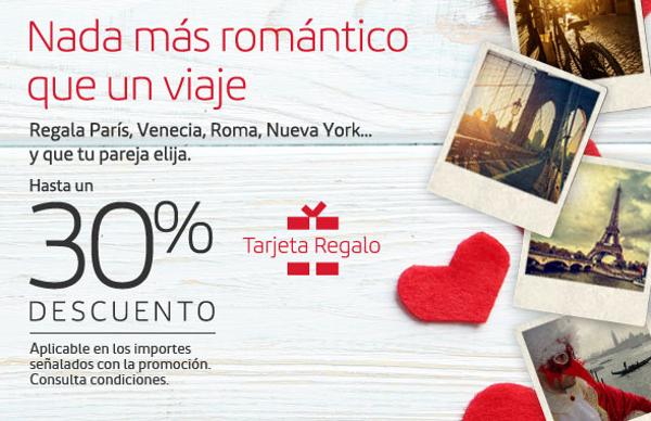 Tarjetas regalo Iberia con hasta un 30% de descuento.