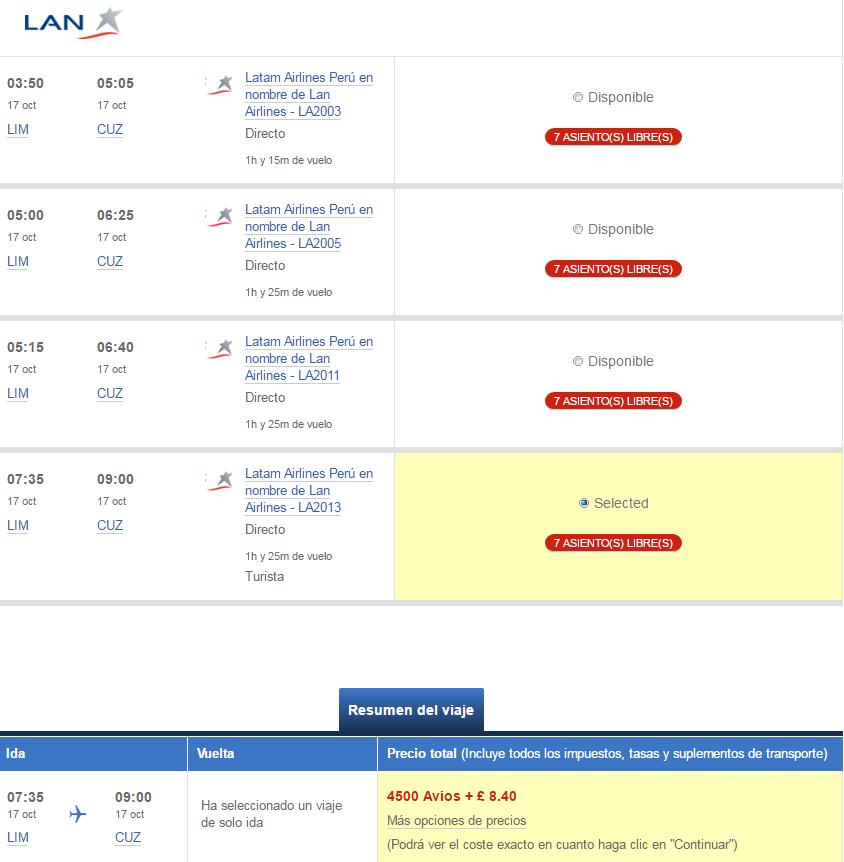 Utilizar Avios con Latam. Lima - Cusco, 4.500 Avios.