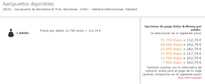 Puntos Avios con LEVEL: Barcelona - San Francisco (OAK) Turista Premium