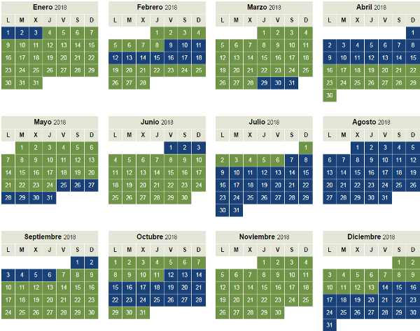 Calendario temporada alta y baja BAEC 2018