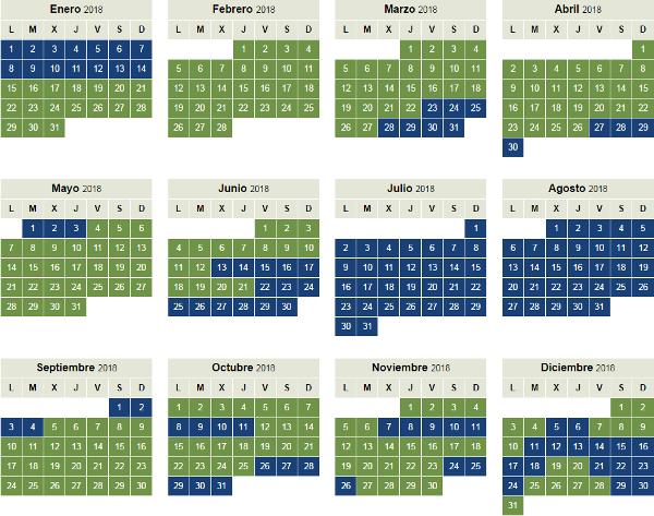 Calendario temporada alta y baja Iberia Plus 2018