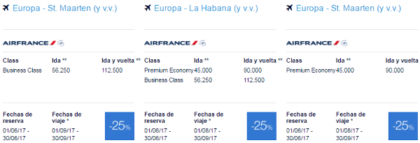 Premios promo Flying Blue junio 2017 Caribe