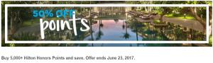 Compra puntos Hilton Honors con hasta un 50% de descuento