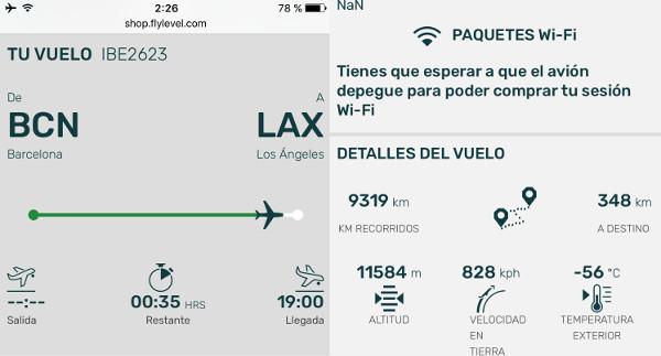 Información real del vuelo BCN-LAX LEVEL.