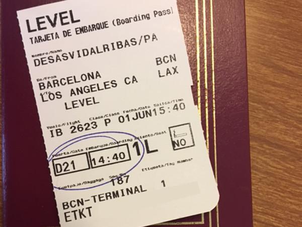 Tarjeta embarque LEVEL IB2623 1 de junio 2017.