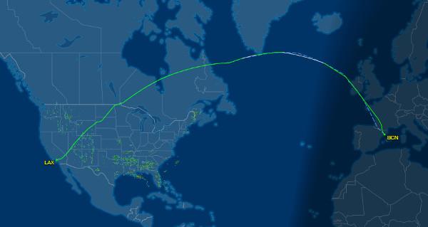Primer vuelo LEVEL: trayectoria de vuelo LEVEL IB2623 BCN-LAX del 1 de junio de 2017.