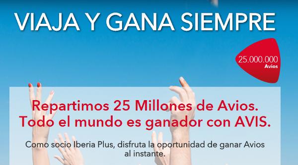 Avis dice que reparte 25 millones de Avios.