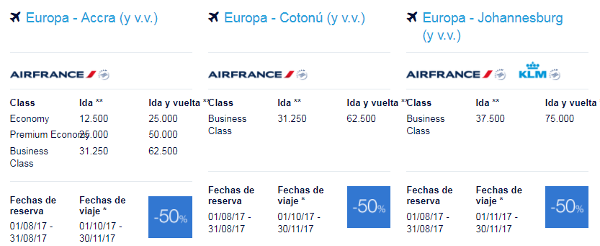 Premios Promo Flying Blue agosto 2017 África.