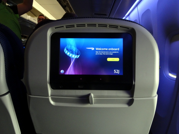Turista British Airways: pantalla individual Panasonic eX3