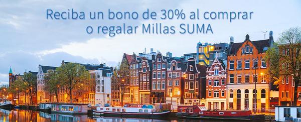 Compra millas Suma Air Europa con un 30% adicional