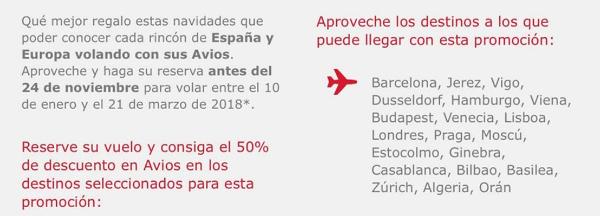 Nueva promoción 50% Iberia Cards (titulares selectos)
