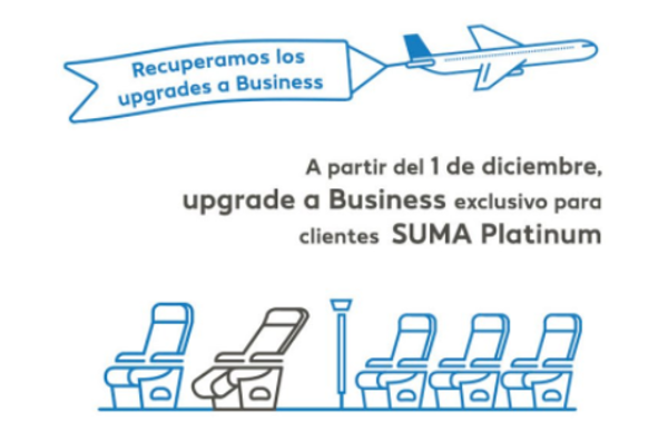 Air Europa recupera los upgrades a Business para socios Platinum.