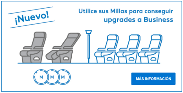 Upgrade a clase Business con millas Suma.
