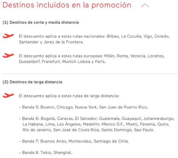 Destinos incluidos en la promoción de Iberia Cards.