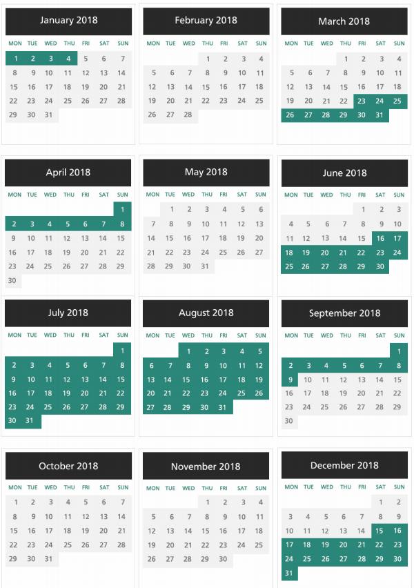 AerClub: calendario de temporada alta y baja 2018.