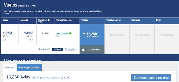 Ejemplo de búsqueda de vuelos en Avios.com