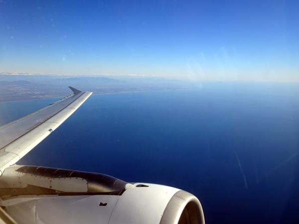 Una vez despegados, dejando la costa Italiana atrás nuestra.
