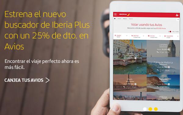 25% descuento en Avios rutas largo radio de Iberia