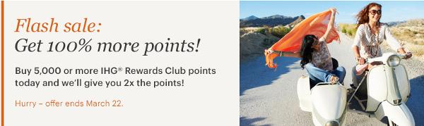 Compra puntos IHG con un 100% adicional de puntos, solo hasta el jueves 22.