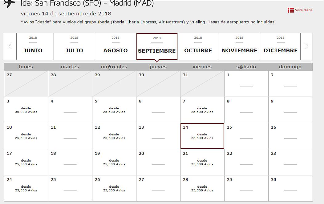 """Nueva """"Vista Mensual"""" a la hora de reservar vuelos con Avios (pincha en la imagen para ampliar)."""