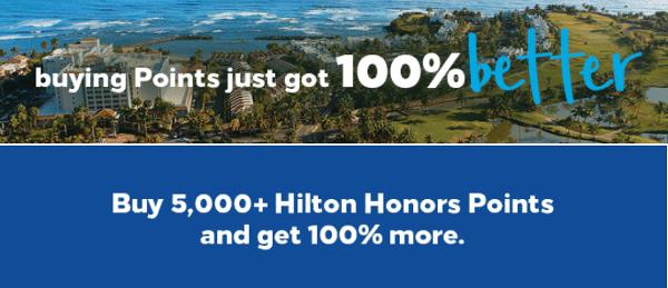 Compra puntos HHonors: recibe un 100% adicional