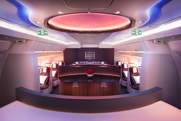 Clase business Qatar Airways.