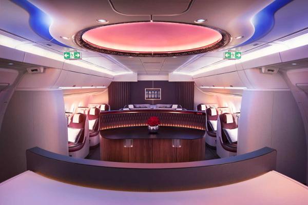 Clase business Qatar Airways.