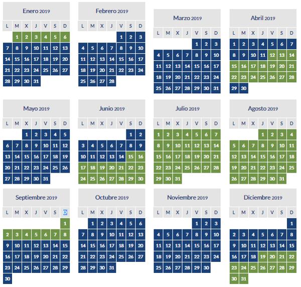 Calendario de temporada baja y alta AerClub 2019.